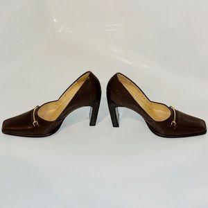 """⭐️ HP⭐️ Vintage Gucci brown pumps (4"""" block heels)"""